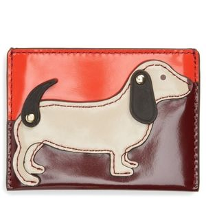 Tory burch dachshund red dog card holder
